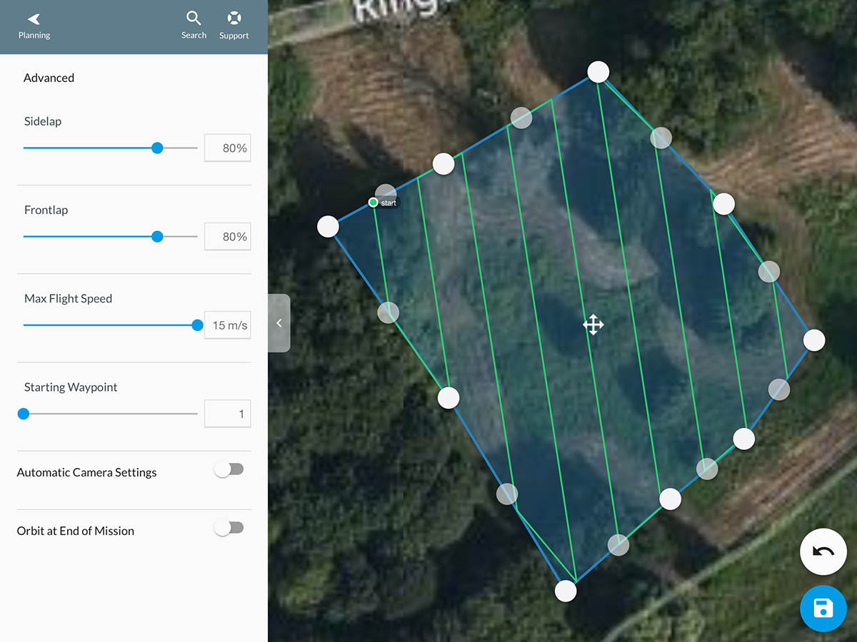 Using DroneDeploy and the POI mode for automatic point cloud